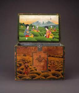 Tea chest. Japan, early 20th century. Wood, exterior paper decoration, tin lining. photo courtesy of Fowler Museum at UCLA